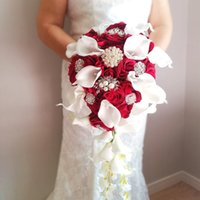 2021 Whintey Wedding Collection Flowers With Pearls Beads Rhinestone Burgundy Roses white Calla Lily Cascading Bouquet ramo de la boda