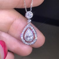 Victoria Sparkling Luxury Jewelry 925 Sterling Silver&Rose Gold Fill Drop Water White Topaz Pear Diamond Women Pendant Chain Necklace704 T2