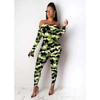 Two Piece Dress Money Dollar Print Sexy Set Off Shoulder Long Flare Sleeve Bodysuit Top + Pencil Pants Women Night Club mesh Ou HF5D