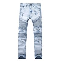 Rappresenta i pantaloni dei jeans dell'abbigliamento SLP blu / nero distrutto da uomo Slim Denim Dritto Biker Skinny Jean uomo Strappato Pant