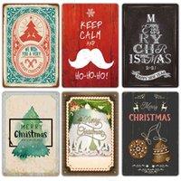 Vintage Merry Metal Bar Parede Snow Cena de Estanho Home Decoração Pintura Placas de Natal Presente Retângulo