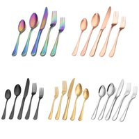 20pcs set Matte Black Silverware Set with Steak Knives Stainless Steel Flatware Cutlery Kits Service for 4 People Hand Wash Recommended