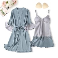 Women's Sleepwear Casual Women Nightwear Satin Patchwork Nighty&Robe Suit Faux Silk Kimono Gown Sexy Lingerie With Lace Nightgown