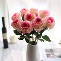 Flores de seda artificial rosa flor real táctil peonía decorativa fiesta flores falso boda novia ramo de navidad decoración de Navidad 13 colores HWE6062
