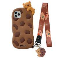 3D bonito dos desenhos animados chocolate biscoito biscoito biscoito casos de telefone celular para iphone 11 12 pro max xr x 7 8plus macio corda de corda de corda de silicone