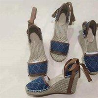 Женская платформа с открытой ноской платформой Espadrille Shoes Fisherman каблуки каблуки дизайнерский дизайнерский клин Sandals Matelassé легкий вес тележки обуви шпагат шпагат кружев с коробкой