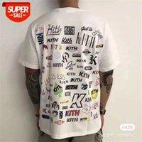 Geri Tam Logo KITH T-shirt Ön Klasik Kutu T-Shirt Sanatsal Yazı Baskı Tee Pazartesi Program Serisi Tops # WH36