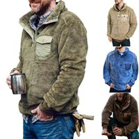 Men's Fur & Faux Mens Pullover Jacket Winter Casual Solid Jumper Coats Clothes Thicken Warm Sweatshirts Pocket Button Long Sleeve
