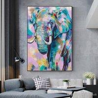 African Elephant Sauvage Coloré Graffiti Art Affiches et empreintes Animaux Peinture murale Art mural pour salon Décoration de la maison (avec cadre)
