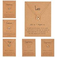 Femenino elegante estrella zodiaco signo 12 constelación colgante encanto oro cadena gargantilla collares para mujer joyería cartón