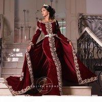Burgundy Velvet Prom Formal Dresses with Overskirt 2021 Karakou Algérien Luxury Gold Lace Embroidery Kaftan Caftan Evening Gowns