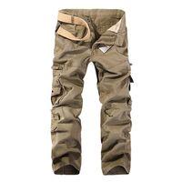MISNIKI Sonbahar Erkekler Kargo Pantolon Düz Rahat Çok Cepler Taktik Pantolon 28-40 AXP138 210726