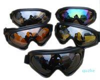 4 Glasses Color Black Frame Snow Goggles Windproof UV400 retro ski goggles kayak Motorcycle Snowmobile Ski Sport Protection Safety Glasses