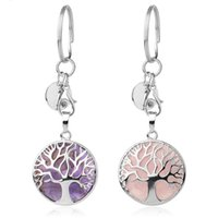 Natural Stone Original Keychains Tree of Life Keyring Silver Color Healing Crystal Car Decor key rings Keyholder for Women Men