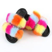 النساء أحذية الحلوى لون النعال قطيع ليوبارد امرأة الفراء الإناث لينة غير الانزلاق الشرائح الأزياء الدافئة أفخم ladie الأحذية المسطحة 210203