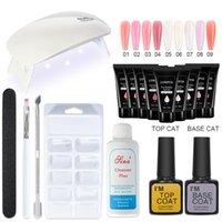 Kits de arte de uñas Conjunto de manicura Poly UV Gel Kit LED Lámpara LED Extensión falsa Constructor Base Top Aleta Polaco Solución de Acrílico Lacado
