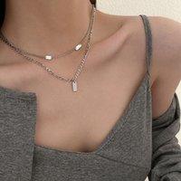 Colliers de pendentif à double couche en acier titane pour femmes ins bijoux 2021 Nouvelle tendance Simple Design Cadeaux de mode Clavicule de luxe