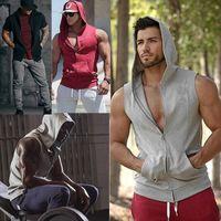 Men Casual Hoodie Sweatshirts Tank Tops Summer Sleeveless Slim Fit Zip-up Tops Pockets Male Summer Sports Vest