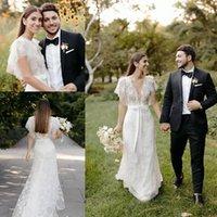2021 Boho Mermaid Wedding Dresses Bridal Gown Lace Applique Custom Made Sexy Plunging V Neck Plus Size Ribbon Backless Beach Vestido de novia