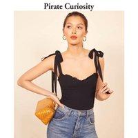 Pirat Neugierde Mode Crop Top Sexy Streetwear Elegante Schwarz Camis Frauen Elastische 2021 Sommer Tops aus Schulterweste Femme Damen Tanks