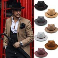 Wide Brim Hats Men Women Wool Panama Sunhat Fedora Caps Trilby Jazz Travel Party Street Style US Size 7 1 8-7 3 8 UK M-L