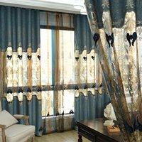 Costume cortinas cinzas azul moderno luxo europeu grosso veludo bordado pano blackout painel de tule drapes