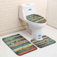 3 Parça Set Klozet Mat Vintage Yaratıcı Kaymaz Banyo Mat Seti Emici Su Banyo Kapak Tuvalet 210401 için Klozet Mat Halı