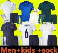 2021 2022 Италия Home Soccer Jersey Men Kids Chiesa Kits 22 Italia Maglie da Calcio Verratti Jorginho Romagnoli Бесплатные футболки футбол