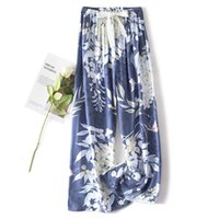 Summer Print Long Pants Sleep Bottoms Womens Cotton Blend Pajamas Elastic Waist Pijamas Home Wear Sleepwear Casual Nightwear