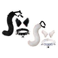 봉제 고양이 귀 머리 클립 모피 늑대 꼬리 가죽 벨리 워커 목걸이 개념 세트 애니메이션 동물 코스프레 의상 액세서리