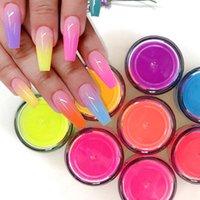 15g / kutu Süper Parlak Neon Toz 9 Renkler Pigment Toz DIY Nail Art İpuçları UV Jel Manikür Lehçe Kristal Daldırma Uzatma Oluşturucu Glitter