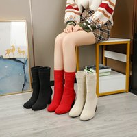 2022 fashion ladies boots high heel socks boots thick heels outdoor non-slip shoes breathable factory production price discount size 35-43 w