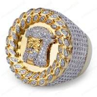 High Quality Yellow Gold Plated Bling Iced Out Gold Rings Mens Hip Hop Jewelry Cool CZ Stone Juses Men Hiphop Rings