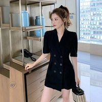 2021 Korean Women's Dress Summer Foreign Style Kikyo Waist Closed Short Sleeve Suit A-line Skirt