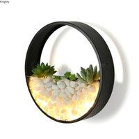Lâmpada de parede Moderna LED Round Sconces para quarto Decoração da sala de estar decorada com plantas e pedras presente de arte decoração