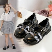 Flat Shoes Black Princess Lolita Girls Chaussure Fille Students Leather For Performance Kids Dress Wedding Party
