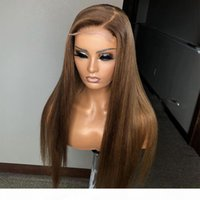 Lace Front Wig Brown Color Straight Human Hair Wig Brazilian Baby Hair Full Lace Wigs