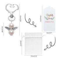 파티 호의 60 Pcs 감사합니다 Angel Keychain Bow Wing Tag Guest Baby FKXe 리턴