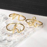 Brand New 26 Initials Ring Stainless Steel Geometric Gold Women Party Wedding Women's Jewelry Birthday Gift 2021