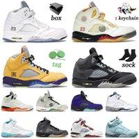 Hava Ürdün 5 Retro 5 S Basketbol Ayakkabıları V Jumpman Ürdük Tüm Beyaz Yelken Ne Anra Raging Bull Kapalı MESN Kadın Eğitmenler Sneakers