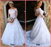 2021 Robe demariage white tulle vintage a line wedding dress luxury lace appliques off the shoulder long sleeve bridal gowns muslim women elegant bride dresses