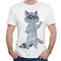 T-shirts hommes Yoylap Street Street 100% coton T-shirt T-shirt Little Raccoon Automne à manches courtes Col Couche Hommes Shirts Tee-shirts