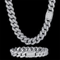 100% zircone cz hip hop miami cubano collegamento a catena di collegamento 14mm baguette braccialetto uomo rhombus collana dropshipping gioielli nero moda