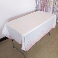 Пластиковая розовая золотая точка скатерть прямоугольник из нефтяной стойки настольная ткань одноразовая скатерть 137x274 см на день рождения свадьба