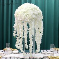 Decorative flower 35 45 50 Cm Wedding Decor Road Lead Flower Book Diy Artificial Ball Sitting Table Center For Party Event 0715
