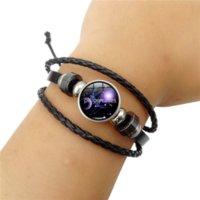 12 Zodiac Constell Bracelet String Adjustable Galaxy Snap Button Multilayer Wrap Bracelets women men Fashion Jewelry Leo Virgo Libra Gemini Taurus