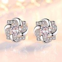 925 الفضة الاسترليني أقراط عالية الجودة امرأة الأزياء والمجوهرات الجديدة محظوظ البرسيم كريستال الزركون أقراط 775 z2