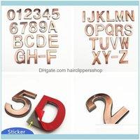 Garten Home Dekor Neuheit Artikel Aufkleber 5 cm / 7 cm Bronze Farbe 3D Brief Tür Plaque Haus der Zeichen Plattiert Gate Ziffern Kunststoff Nummern Tag d