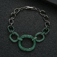 Charm Bracelets Luxury Square Cuban Link Bangles Cubic Zirconia CZ Bohemian Cuff For Women Femme Fashion Jewelry S0825