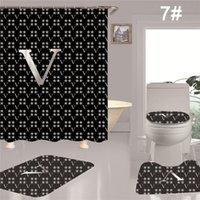 Duche à prova d 'água cortinas quatro pedaço conjunto criativo impressão digital poliéster durável banho cortina de banho acessórios